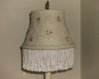 Floral Applique and Fringe Lampshade