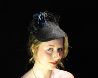 Perfect little black fascinator| Black Sinamay Fascinator| Fascinator on headband| Handmade Bespoke Fascinator| Little Black Hat| OOAK Hat