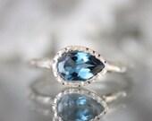 Sideswept London Blue Topaz Sterling Silver Ring, Gemstone Ring, Milgrain Details Inspired, Teardrop Shape, Engagement Ring - Made To Order