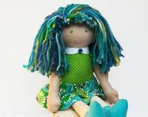 Yarn Hair Rag Doll Modern Cloth Doll Blue Green Ready to Ship