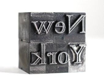 NEW YORK - 36pt Vintage Metal Letterpress