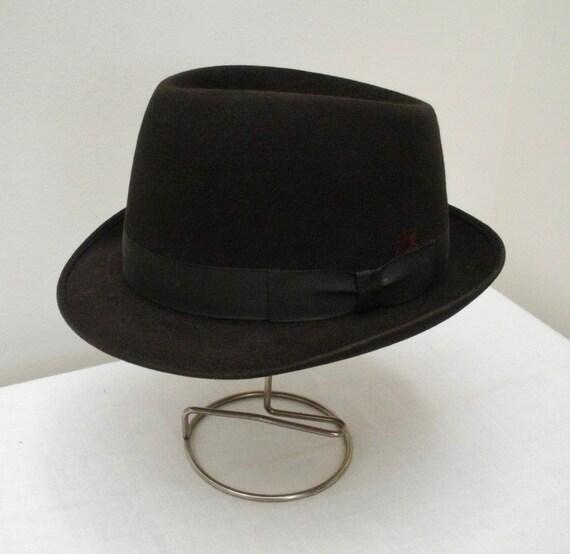 Vintage Dark Brown Pork Pie Fedora Hat in Hat Box