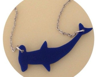 Dark Blue Hammerhead Shark Necklace, Animal Jewelry Acrylic Plastic