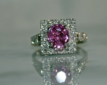 14K WG Natural, 2.20ct Pink Sapphire and 1.0ct Diamond Engagement Ring, Free Appraisal Included