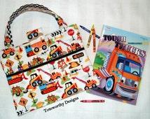 Crayon Holder ~ Diggers ~ Construction Vehicles ~ Boy Gift ~ Art Supplies Tote ~ Airplane Travel Bag ~ Coloring Book & Crayons