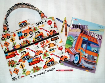 Crayon Holder, Coloring Book and Crayon Tote, Construction Vehicle Diggers, Kids Arts and Crafts Storage Bag, Travel Activity Bag, Trucks