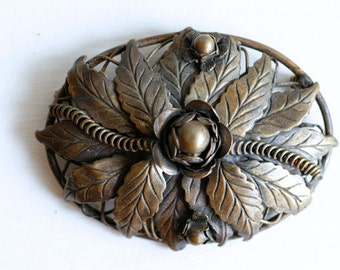 Vintage handmade brass floral brooch / 80s large brass flower pin