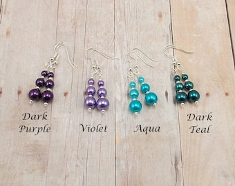 Earrings - Glass Pearls - Graduated Size - Choose Your Color (Dark Purple, Violet, Aqua, Dark Teal) - Brights