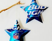 Bud Light  NFL Official Beer Sponsor, Limited Edition Kickoff Beer Stars Christmas Ornaments Aluminum Can Upcycled Budweiser