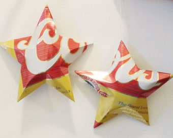Coors Recycled Beer Can Aluminum Stars - Set of 2 Christmas Ornaments, CHOICE Legacy and Under the Floorboards cans