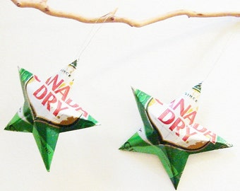 Canada Dry Ginger Ale Recycled Soda Can Aluminum Stars - Set of 2 Christmas Ornaments, Canada Dry