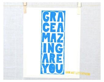 Grace Amazing are You, Typography  Wall Art, Inspirational Art, Nursery Art
