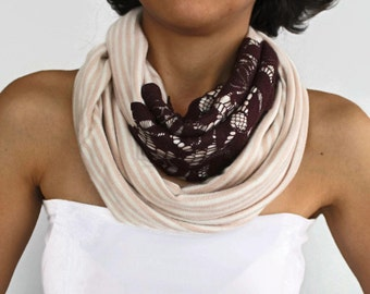 Lacy Infinity Scarf, Soft Combed Cotton Cowl Collar, Neck Warmer, Handmade, Limited Production