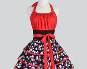 Flirty Chic Apron - Black and Red Cherries Flirty Skirt  Sexy Retro Womens Apron Cute Flirty Chic Apron