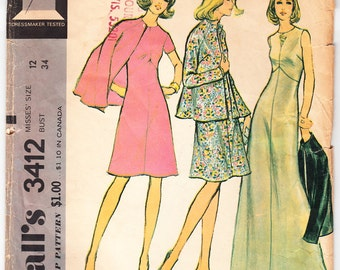 Vintage 1972 McCall's 3412 Sewing Pattern Misses' Dress and Jacket Size 12 Bust 34