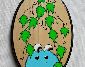 Spud the Monster. Original Acrylic Painting on Wood. Wall Hanging.