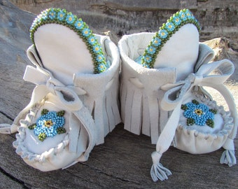"Baby Moccasins By Desi, 3 3/4"" long, Alaska State flower, Girl, baby, light gray, Blue, Tribal, Aztec, Boho, First Shoes, winter wear boots"