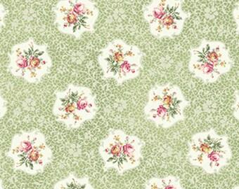Ruru Rose Roses Cameos on Green Cotton Fabric Rose ru2200-15C
