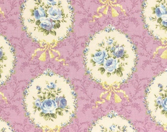 Rococo Sweet 2014 Rose Cameos  on Lavender Cotton Fabric Lecien 30154-110