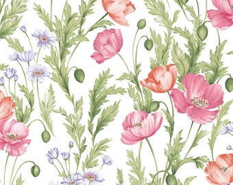 Sundance by Benartex  Cotton Fabric  04781-09  Wild Poppies on White