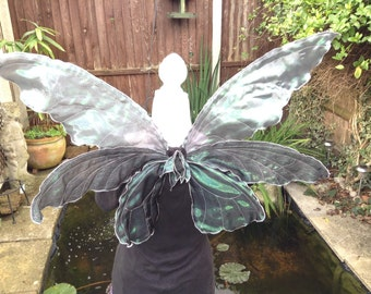 Sliver and black triple adult/older child fairy wings