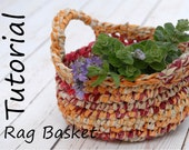 Tutorial for Crocheted Basket with Handles, DIY Eco Friendly Home Decor, Easy Fabric Yarn Basket, Easter Basket Pattern, DIY Basket, Tagt
