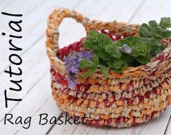 Tutorial for Crocheted Basket with Handles, DIY Eco Friendly Home Decor, Easy Fabric Yarn Basket, Easter Basket Pattern, DIY Basket, Tagt
