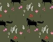 SALE - Windham Fabrics - Wild Field Collection by Dinara Mirtalipova - Mini Horses in Olive Green