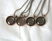 4 Sets of Bronze Toned Pewter Bezel Tray Pendants, Necklaces, Memory, Glass Dome, Custom Necklace, Made in USA Lead & Nickel Free