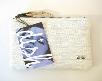 Coin Purse Medium Zipper Pouch Ivory and Black