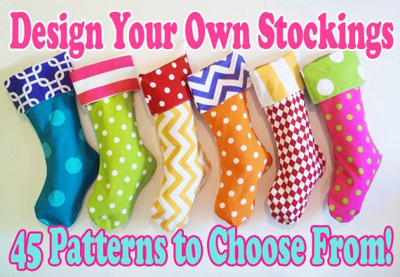 Christmas Stockings, custom holiday stockings, personalized custom christmas decorations, polka dots, chevrons, matching family stockings
