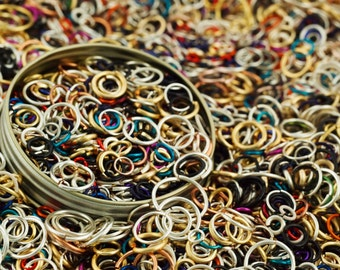 Summer Jump Ring Sale  - 5 ounces -  Approximately 1500 Jump Rings - A Tin-Full of Colorful Handmade Links