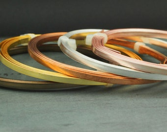 Flat Artistic Wire - Non Tarnish Silver Plate, Antique Brass, Rose Gold Color, Gold Color,  Bare Copper and Stainless Stainless Steel