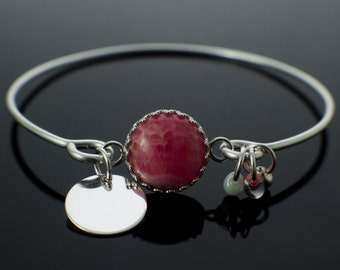 Sterling Silver Bangle with Gemstone Focal - Ready Made or Fast and Easy Kit