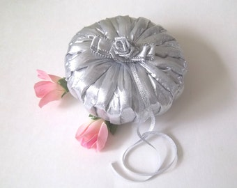 Silver hand smocked  Snow Queen Wedding Ring Bearer Pillow