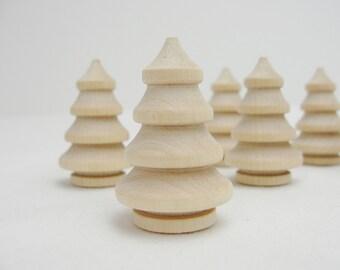 """Miniature wooden 3 dimensional tree, 1 3/8"""" tree, mini turned wooden tree, diy Christmas tree, set of 6"""