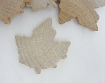 Large Wooden maple leaf, wooden leaf, leaf cutout, wood leaf cutout, set of 6