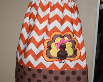 Thanksgiving outfit girls fall twirl skirt for baby toddler turkey applique with brown, orange 6 mos-5t