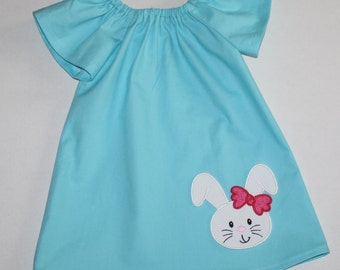 so sweet bunny Easter dress - Peasant dress - girls dresses - baby Easter dress - toddler Easter dress, matching sister dresses,