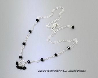 Black Spinel Necklace  Minimalist Jewelry  Gemstone  Charm Necklace  Sparkling Necklace  Simple  Modern  Natures Splendour Gifts For Her
