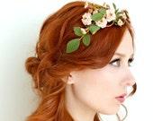 Rose tiara, blush flower crown, floral crown, woodland head piece, rose headband, forest tiara, wedding hair accessory - Folklore