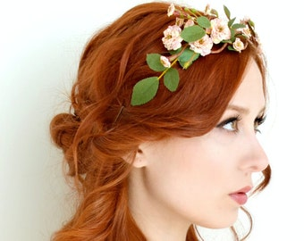 Rose tiara, blush flower crown, floral crown, woodland head piece, rose headband, forest tiara, wedding hair accessory - Folklore