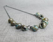 Earthy Necklace, Brown and Green Necklace, Neutral Necklace, Green Beaded Necklace, Oxidized Silver Necklace