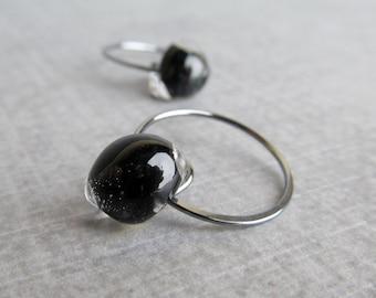 Small Black Hoop Earrings, Black Lampwork Earrings, Small Hoops, Handmade Black Earrings, Oxidized Sterling Silver Wire Earrings, Wire Hoops