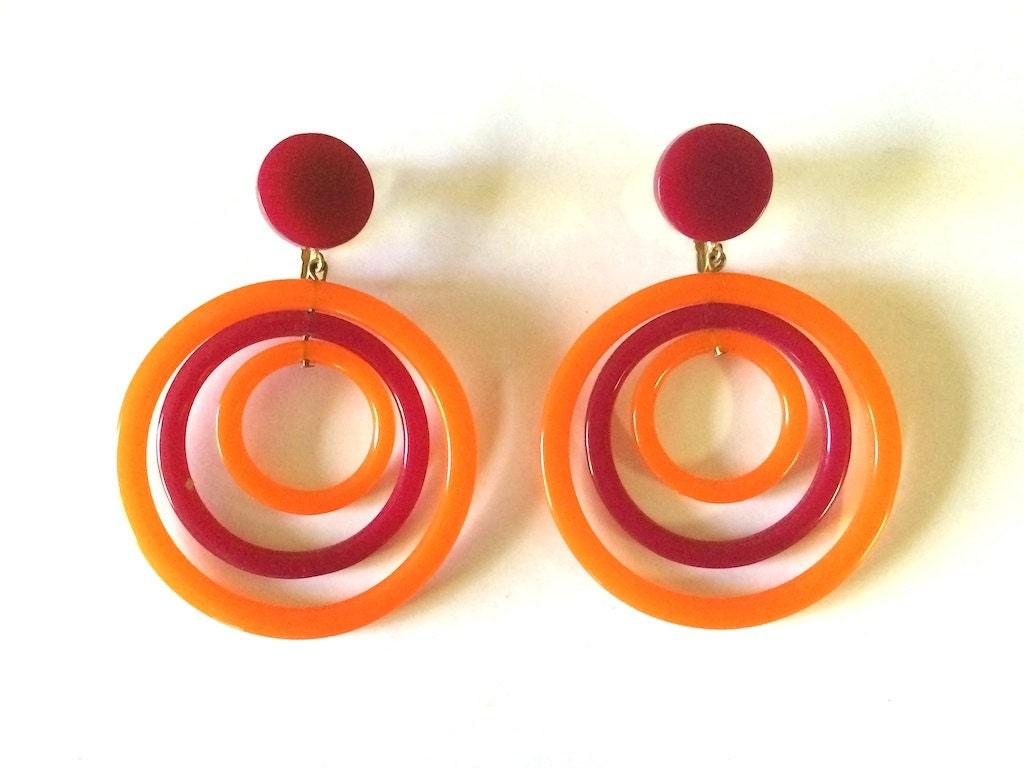 vintage jewelry s 60 s mod earrings orange