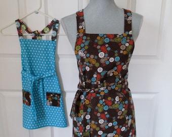 Mom and Me Apron Set - Polka Dots and Brown Paisley