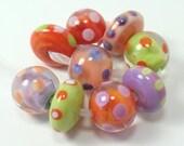 Handmade lampwork beads  -  Calypso Dots  -  orange, purple, lime, salmon, pastel, 9 lampwork beads, colourful lampwork