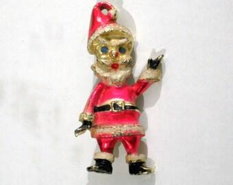 Santa Claus Brooch Vintage 60s Jewelry Christmas Pin Rhinestones Enamel