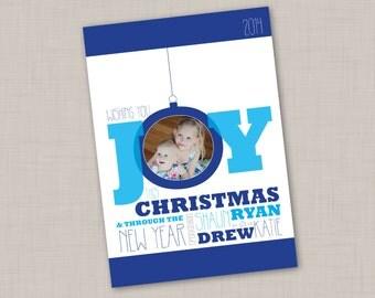 JOY ornament holiday card (BLUE)