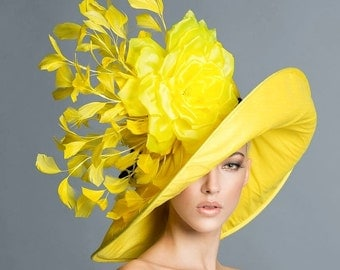 Ketucky Derby Yellow Hat, Couture derby hat, Yellow derby hat,  Spring hat, Preakness hats